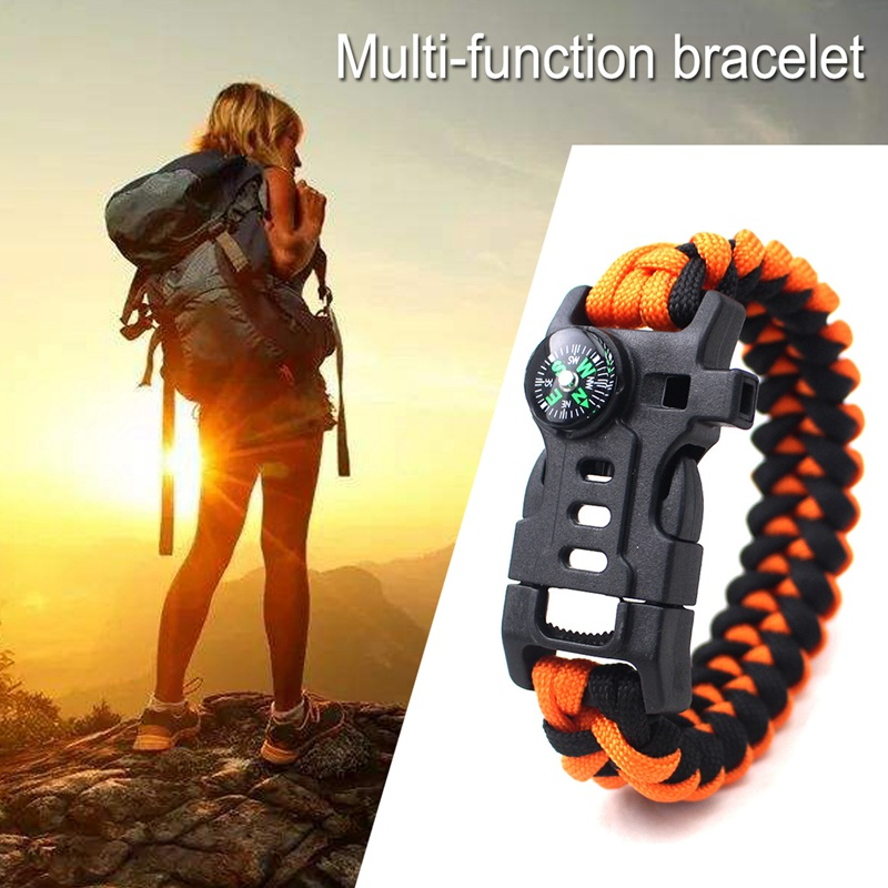 thumbnail 4 - 5 in 1 Multifunctional Outdoor compass Survival Weaving Bracelet,Umbrella R Q2S7