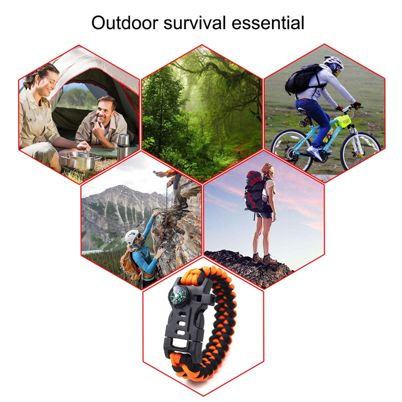 thumbnail 5 - 5 in 1 Multifunctional Outdoor compass Survival Weaving Bracelet,Umbrella R Q2S7