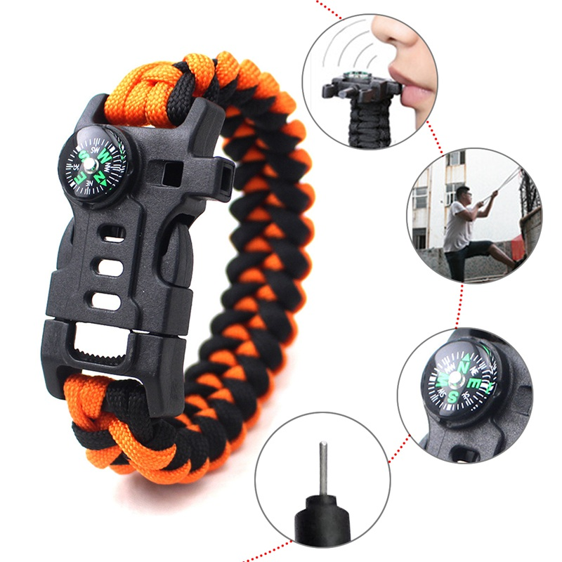 thumbnail 6 - 5 in 1 Multifunctional Outdoor compass Survival Weaving Bracelet,Umbrella R Q2S7