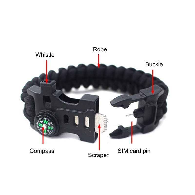 thumbnail 7 - 5 in 1 Multifunctional Outdoor compass Survival Weaving Bracelet,Umbrella R Q2S7