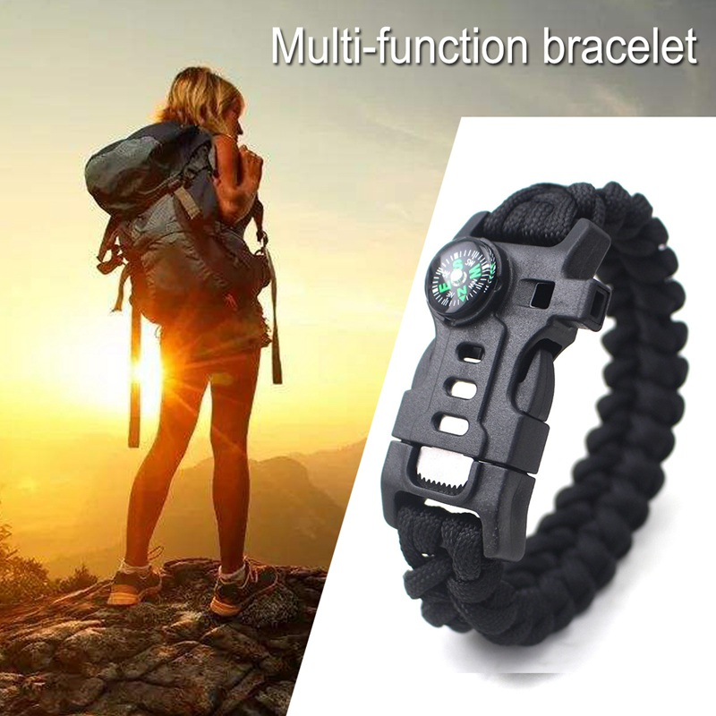 thumbnail 13 - 5 in 1 Multifunctional Outdoor compass Survival Weaving Bracelet,Umbrella R Q2S7