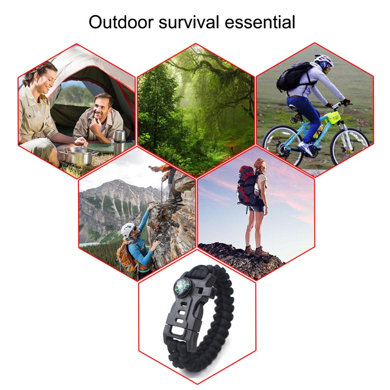 thumbnail 30 - 5 in 1 Multifunctional Outdoor compass Survival Weaving Bracelet,Umbrella R H2Z1