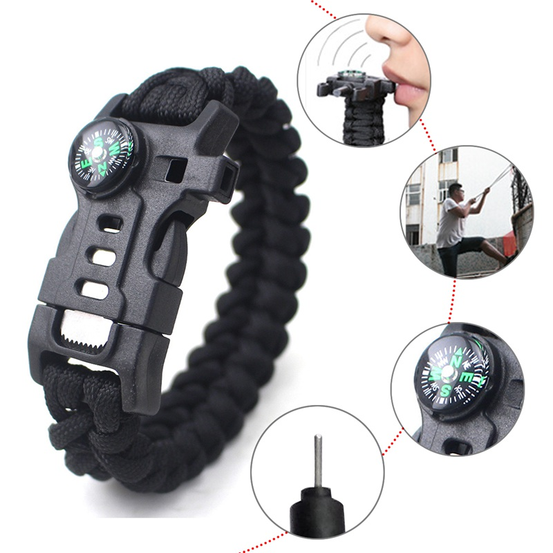 thumbnail 15 - 5 in 1 Multifunctional Outdoor compass Survival Weaving Bracelet,Umbrella R Q2S7