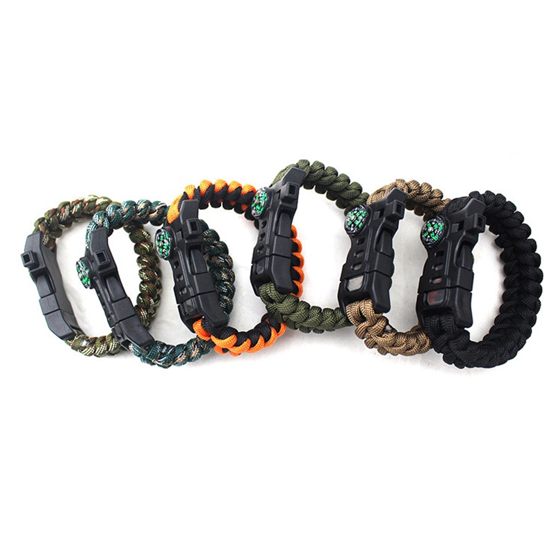 thumbnail 18 - 5 in 1 Multifunctional Outdoor compass Survival Weaving Bracelet,Umbrella R Q2S7