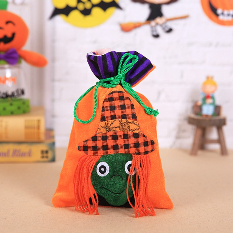 1X(1pc Flannel Candy Bag Halloween Bags Trick or Treat Bags with Decoratio B5Y5)