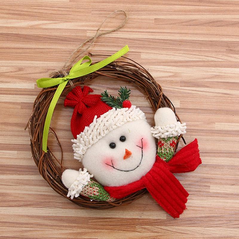2X-1-pz-Natale-corone-porta-appesa-decorazioni-Rattan-Anello-Ghirlande-deco-V1O4 miniatura 2