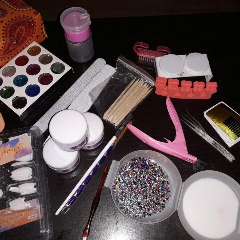 Manicure Kit 19 Nails Nail Art Tips False Nails Sequins Decor Powder ...