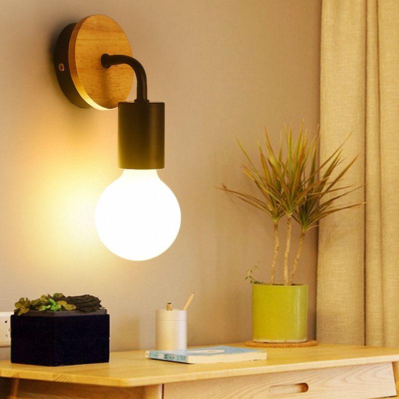 Petite-lampe-murale-en-bois-Lampe-Murale-Moderne-Simple-Lampe-Industrielle-e-7G8 miniature 9