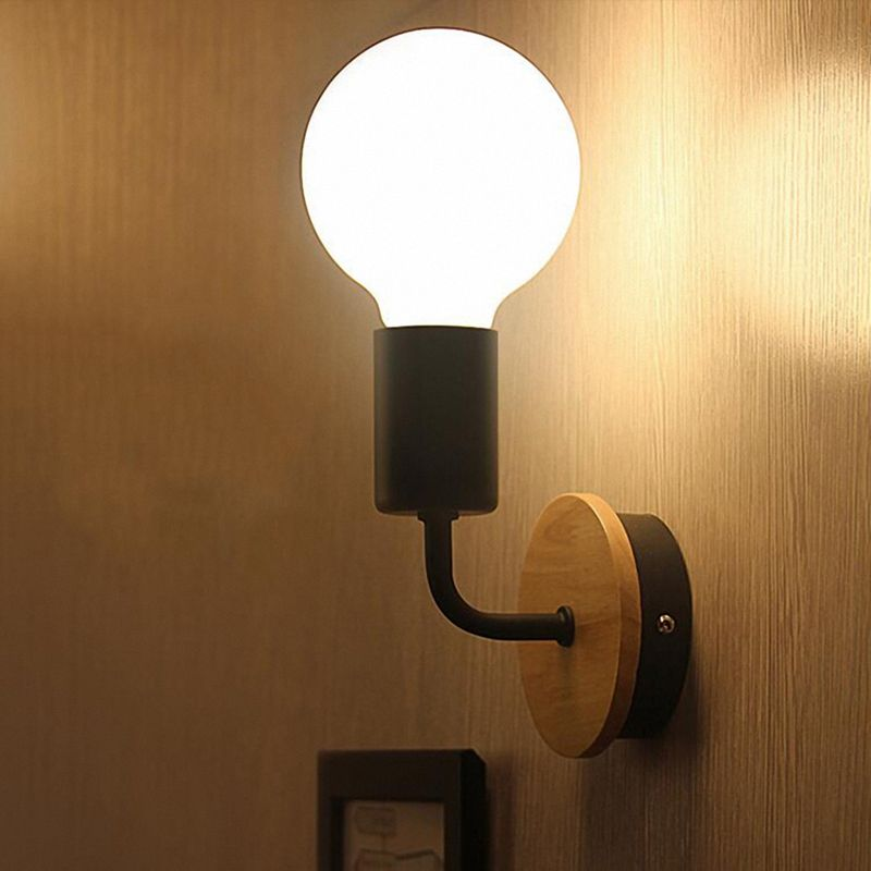 Petite-lampe-murale-en-bois-Lampe-Murale-Moderne-Simple-Lampe-Industrielle-e-7G8 miniature 10