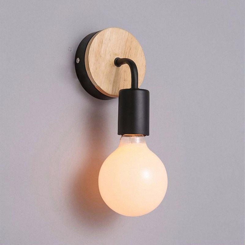 Petite-lampe-murale-en-bois-Lampe-Murale-Moderne-Simple-Lampe-Industrielle-e-7G8 miniature 11