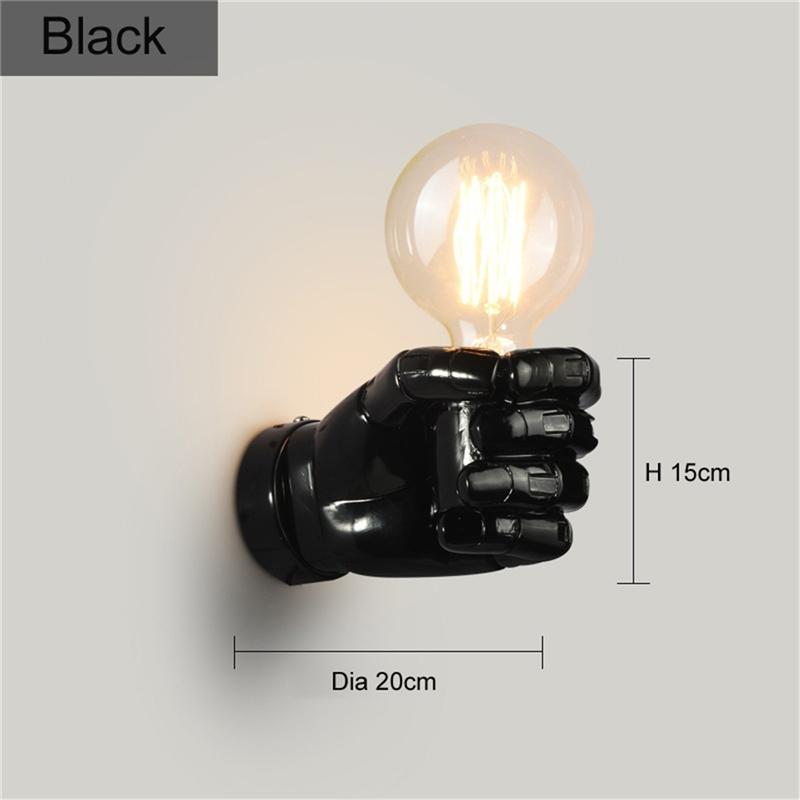 negro-lampara-de-pared-de-resina-de-puno-creativo-vintage-lampara-luz-indust-9Z2 miniatura 5