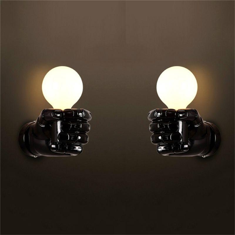 negro-lampara-de-pared-de-resina-de-puno-creativo-vintage-lampara-luz-indust-9Z2 miniatura 6