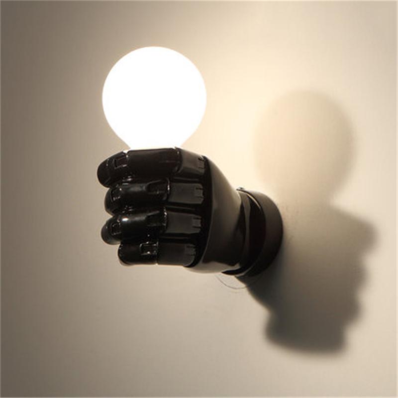 negro-lampara-de-pared-de-resina-de-puno-creativo-vintage-lampara-luz-indust-9Z2 miniatura 7