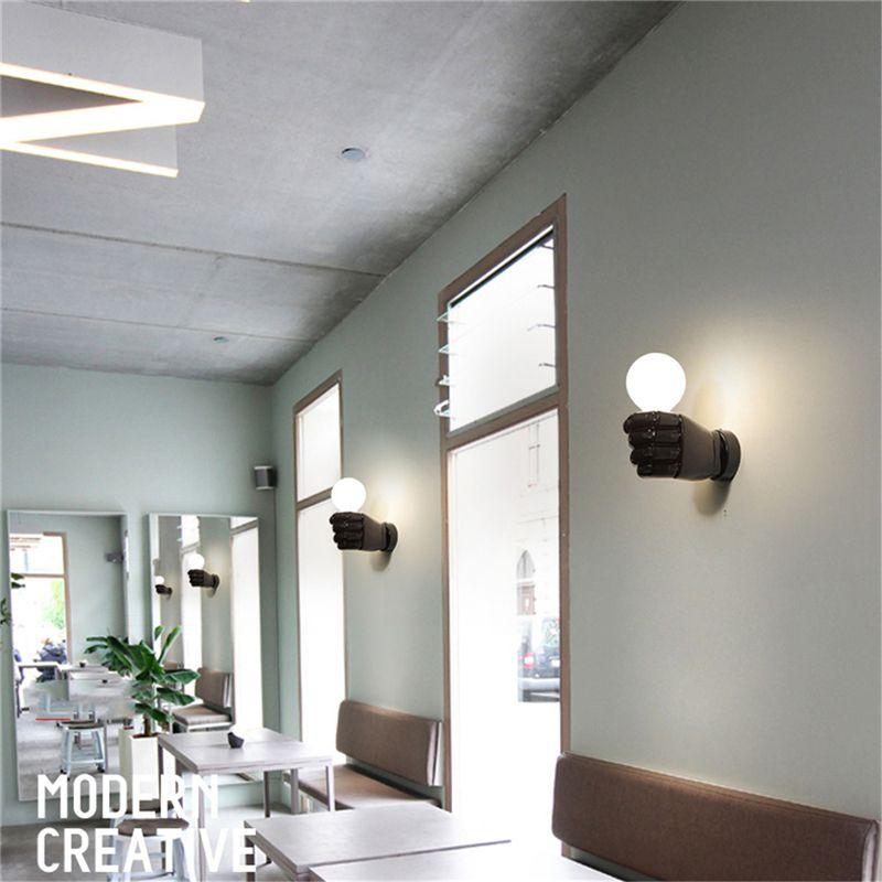 negro-lampara-de-pared-de-resina-de-puno-creativo-vintage-lampara-luz-indust-9Z2 miniatura 8
