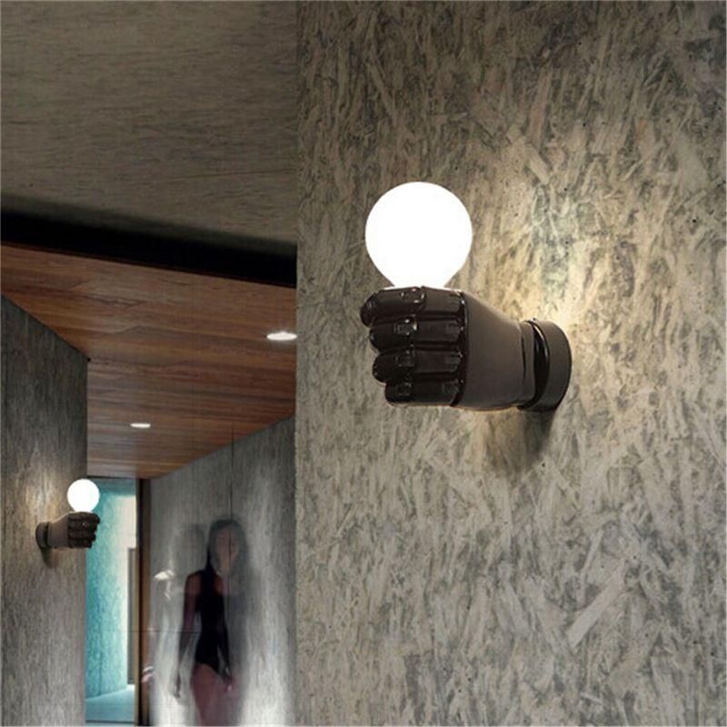 negro-lampara-de-pared-de-resina-de-puno-creativo-vintage-lampara-luz-indust-9Z2 miniatura 9