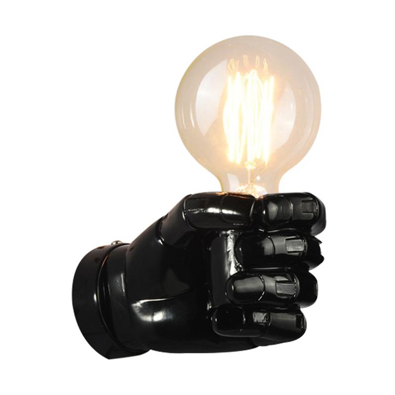 negro-lampara-de-pared-de-resina-de-puno-creativo-vintage-lampara-luz-indust-9Z2 miniatura 10