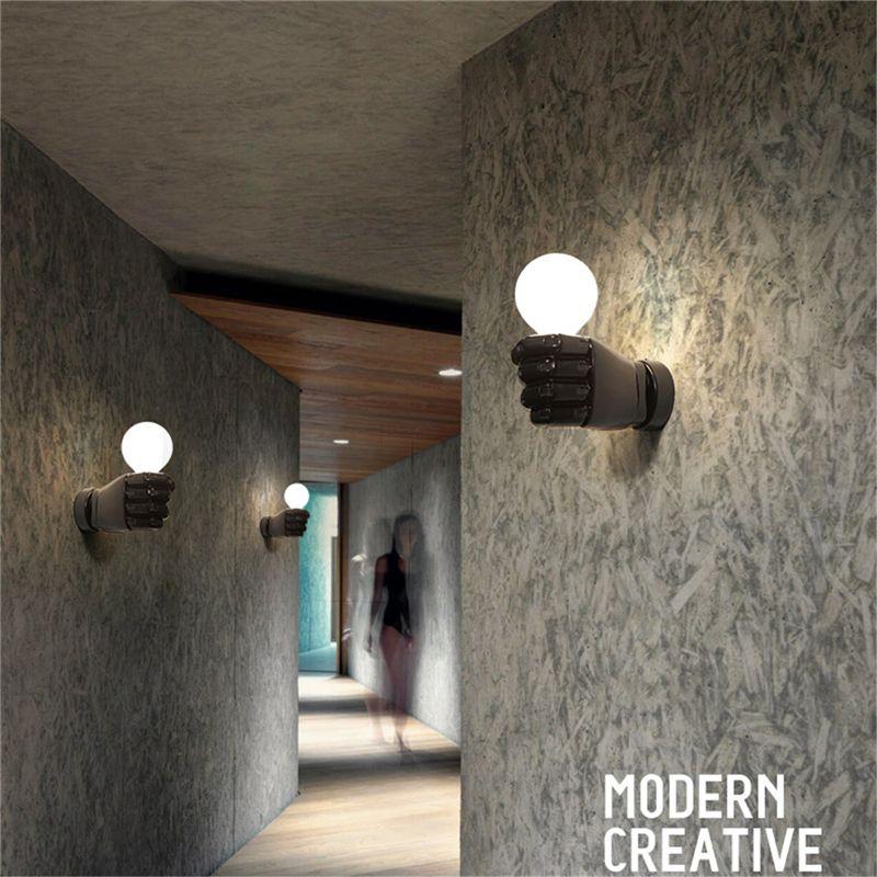 negro-lampara-de-pared-de-resina-de-puno-creativo-vintage-lampara-luz-indust-9Z2 miniatura 11