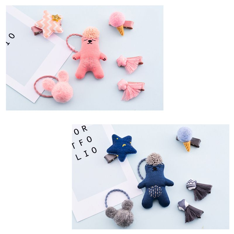 1-set-of-6pcs-cute-fabric-bear-Pentagram-Icecream-set-of-hairpin-combo-birt-V5O2 thumbnail 12