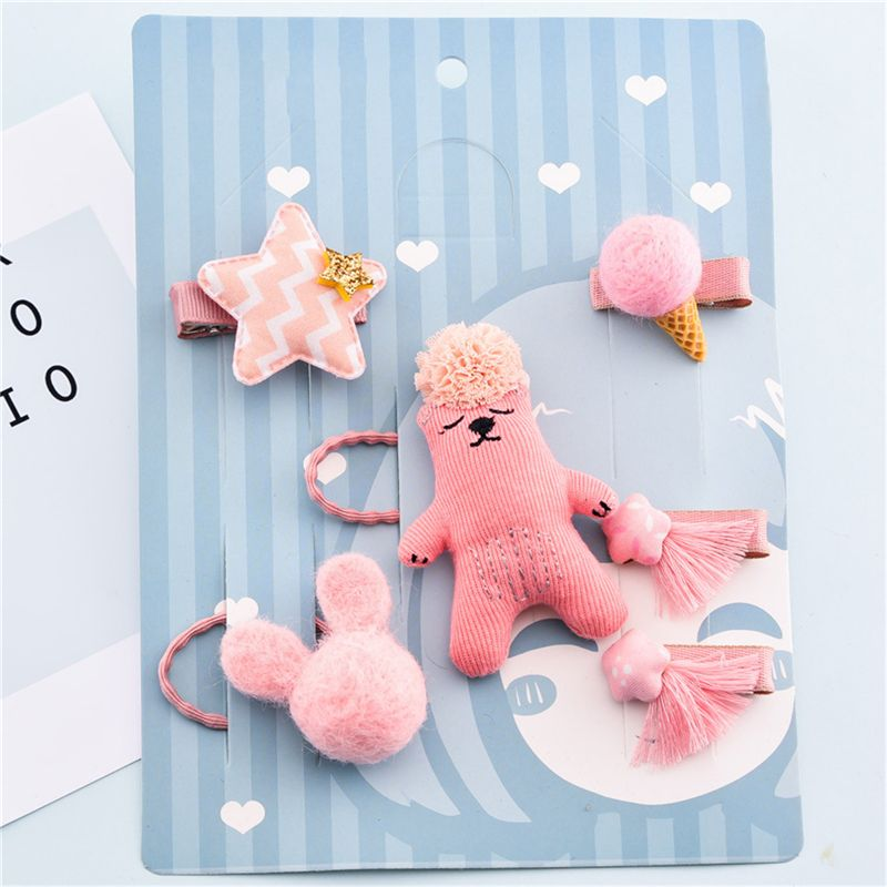 1-set-of-6pcs-cute-fabric-bear-Pentagram-Icecream-set-of-hairpin-combo-birt-V5O2 thumbnail 16