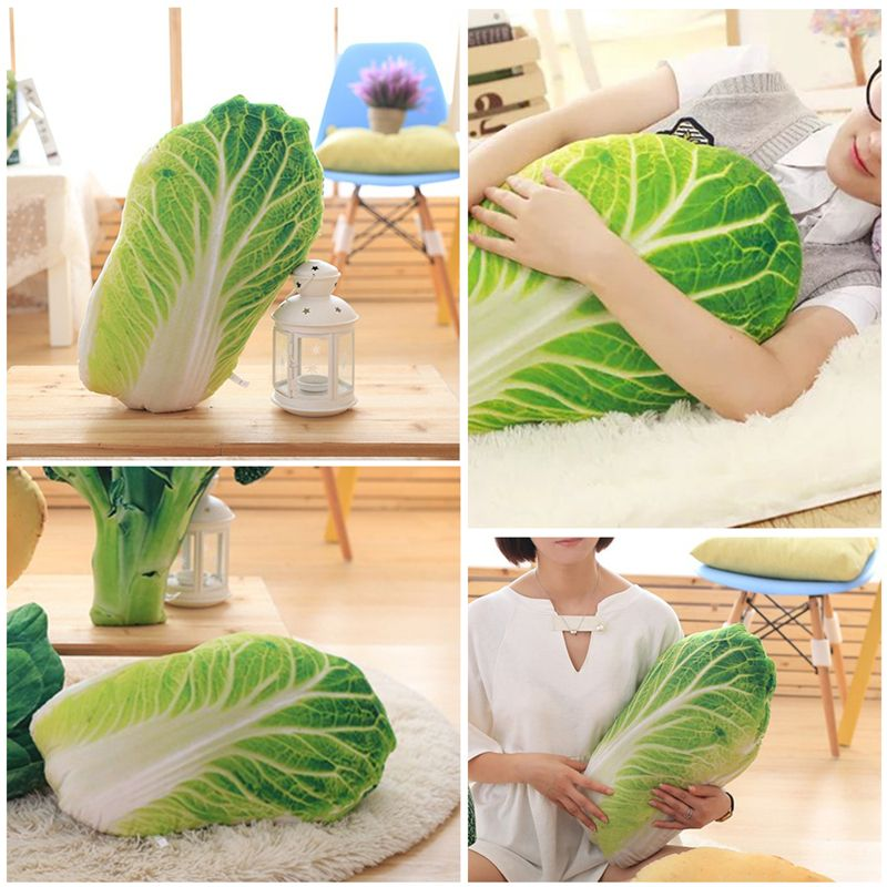 Latest Hot Product Creative Kawaii Toys 3d Simulation Vegetable Cabbage Pillow Office Sofa Cushion Velvet Fruit Vegetables Plu Garden Supplies Power Source