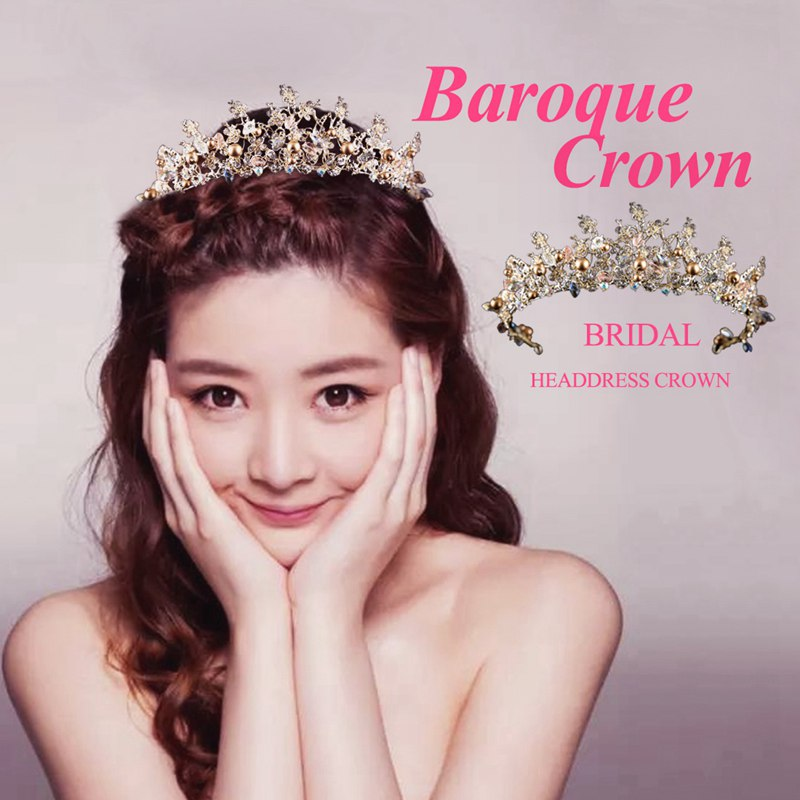 94d032c0ff Rhinestone Rhinestone Jewelry Baroque Crown Photo Studio Bridal Tiara Crown  W1X4. Features  Well-designed  plum meaning strong and elegant  plum crystal  ...