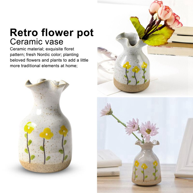 Hand Painted Little Yellow Flower Retro Flowerpot Ceramic Vase