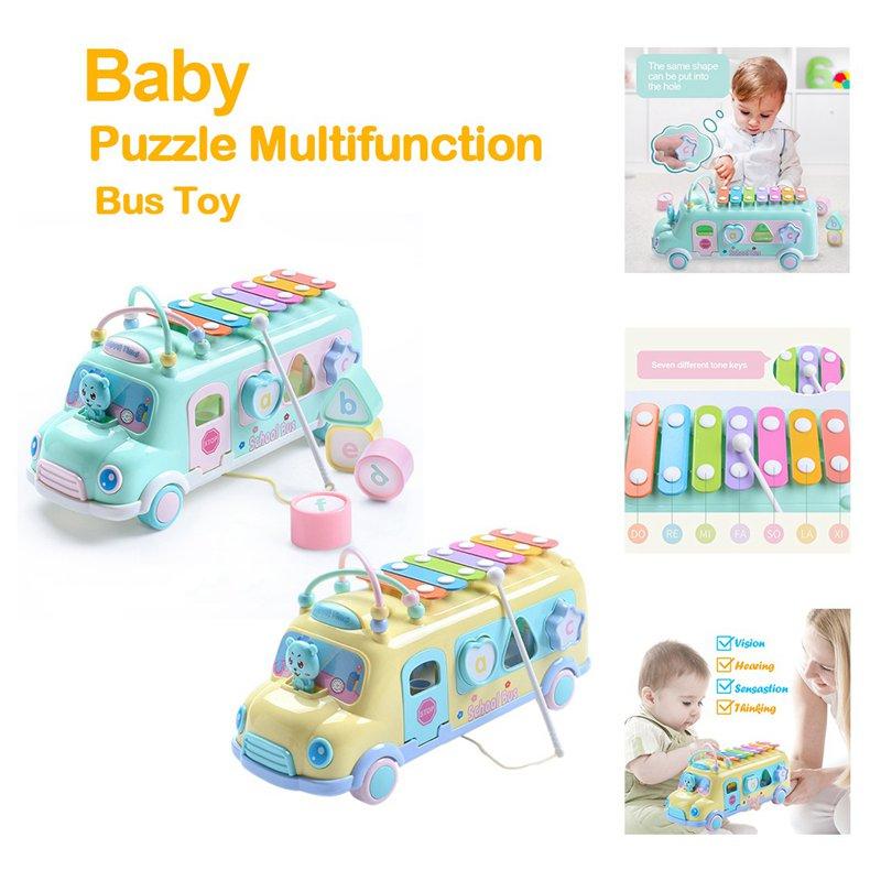 5X(Bambina Pop Music Puzzle Multifunzione Bus Block Knock Hammer Music Baby Q1X4