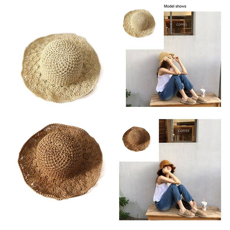 5bc8e9ad3aa Details about lady Panama hand hook pineapple visor beach hat hand folding straw  hat outd V1S3