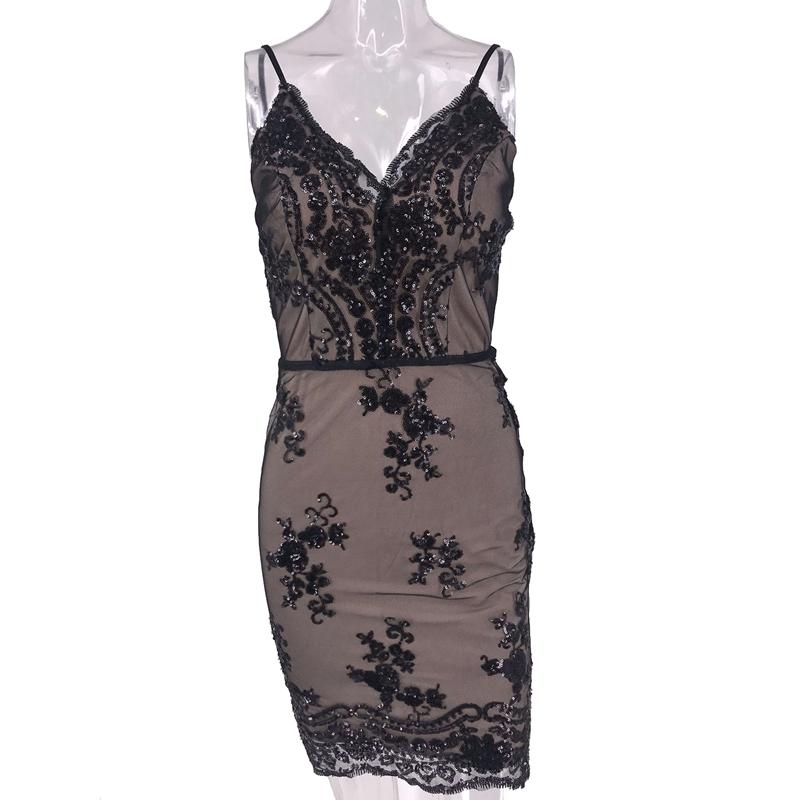 Damen Pailletten V-neck Träger Kleid Rückenfrei Abendkleid Cocktail Strechkleid