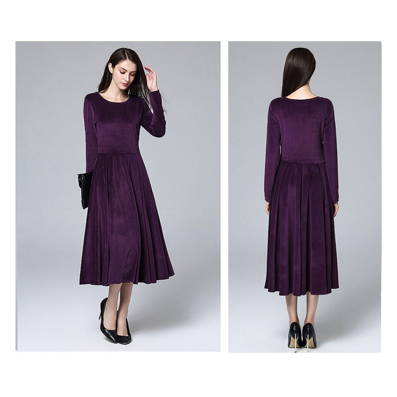 Details about Marina Kaneva Autumn And Winter New long-sleeved Large Size  Dress Female Dr S1I6 3d20ee16b