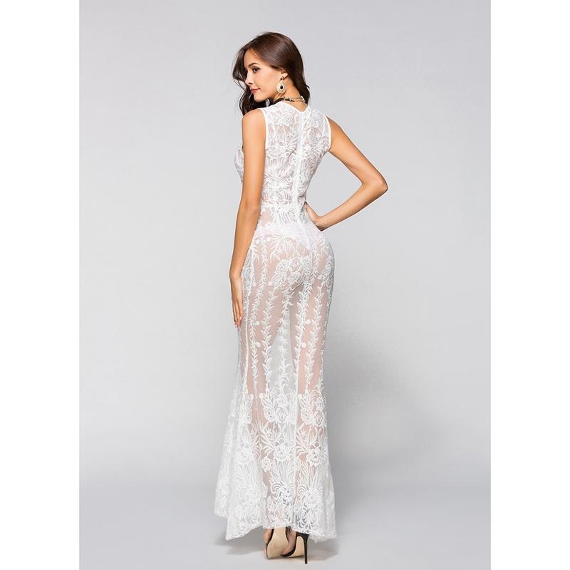 77072950a 1X(Vestido largo de fiesta de noche boda formal encaje blanco 2018 ...