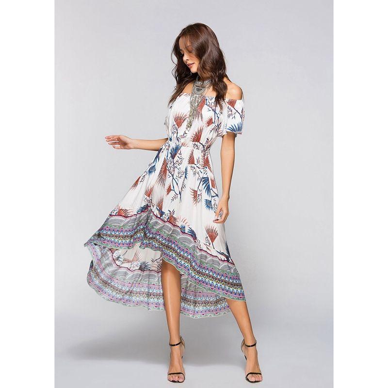 e4a625aa14bb 2X(Women s New Fashion Boho Style Dress Off Shoulder Beach Summer ...