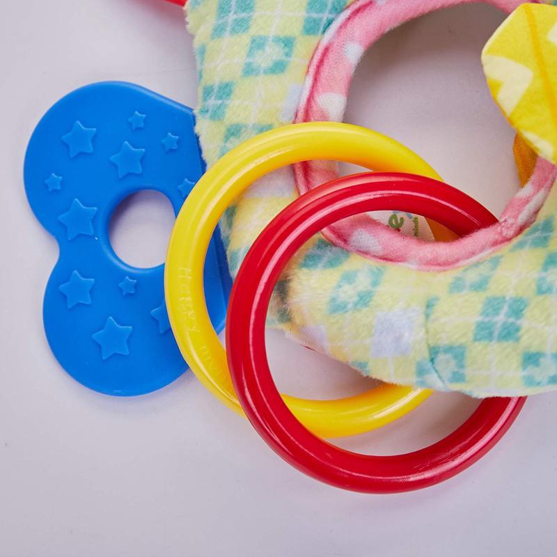 HAPPY-MONKEY-0-3-ans-Bebe-Hochets-Jouet-de-cloche-a-main-Animaux-en-peluche-H-SC miniature 6
