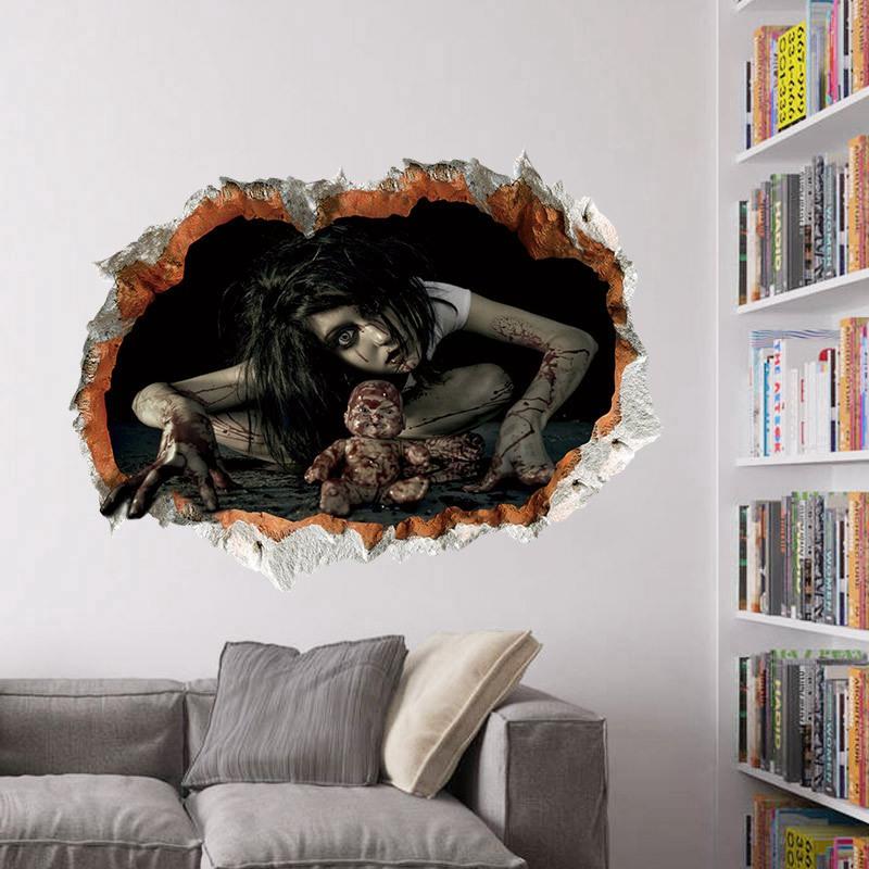 1X-Pegatinas-de-pared-de-Halloween-decoracion-de-sala-de-estar-dormitorio-pU5M5 miniatura 6