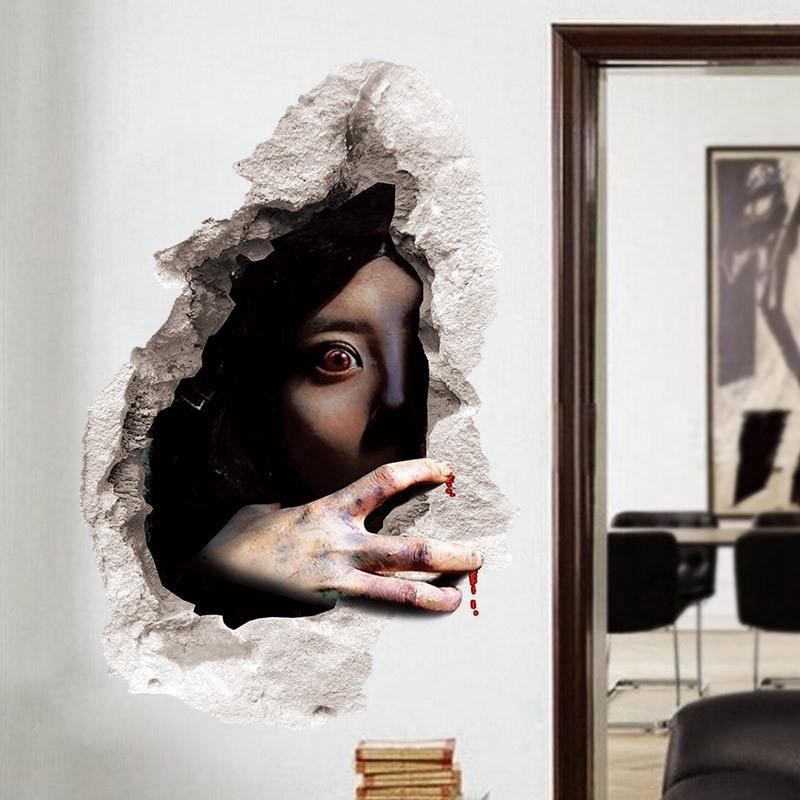 1X-Pegatinas-de-pared-de-Halloween-decoracion-de-sala-de-estar-dormitorio-pU5M5 miniatura 9
