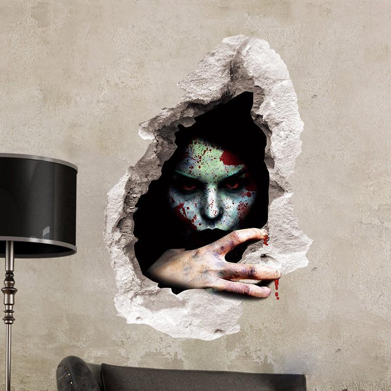 1X-Pegatinas-de-pared-de-Halloween-decoracion-de-sala-de-estar-dormitorio-pU5M5 miniatura 12