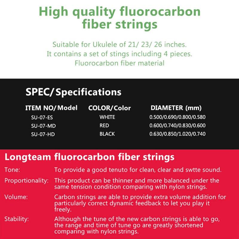 Longteam-Cuerdas-de-carbono-Ukulele-Cuerdas-de-fibra-de-fluorocarbono-para-F3F7 miniatura 10