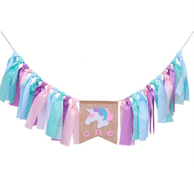 10X(Unicorn party decoration Baby 1 year old flag W7G1)