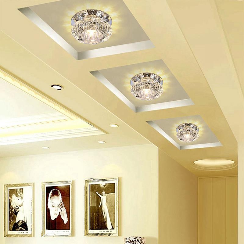 1X-Allee-Flush-LED-plafonnier-la-salle-de-sejour-cristal-couloir-Allee-lumi-C2D7 miniature 10