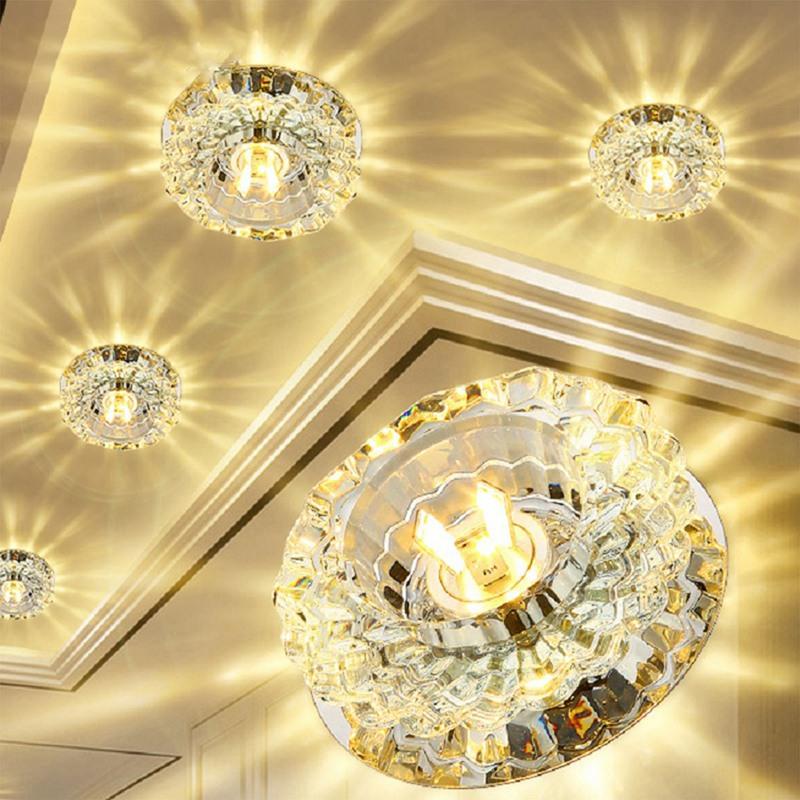 1X-Allee-Flush-LED-plafonnier-la-salle-de-sejour-cristal-couloir-Allee-lumi-C2D7 miniature 11