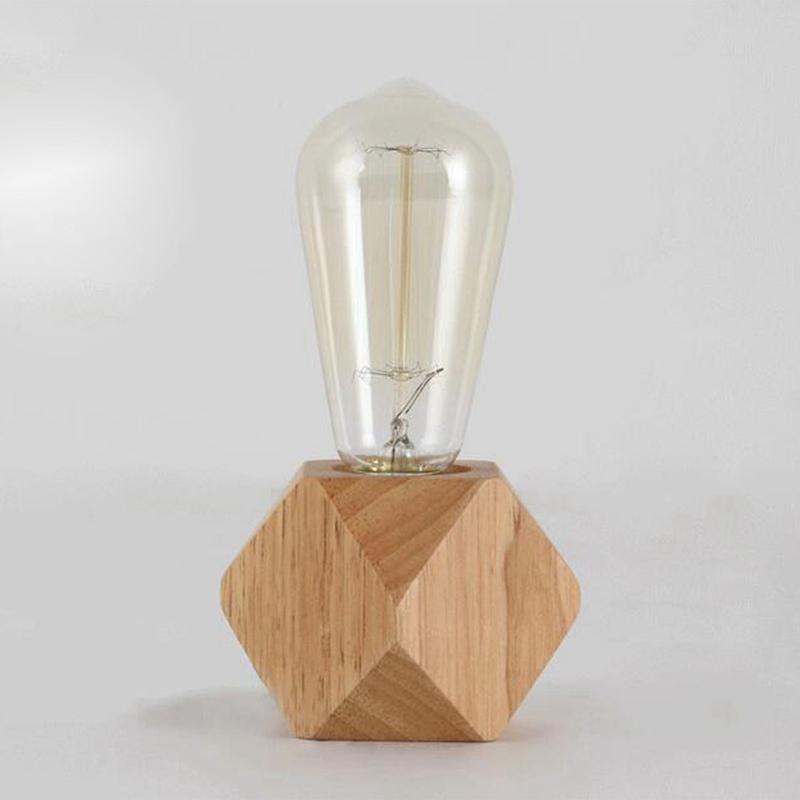 lampe de table moderne e27 lampe de bureau en bois lampe. Black Bedroom Furniture Sets. Home Design Ideas