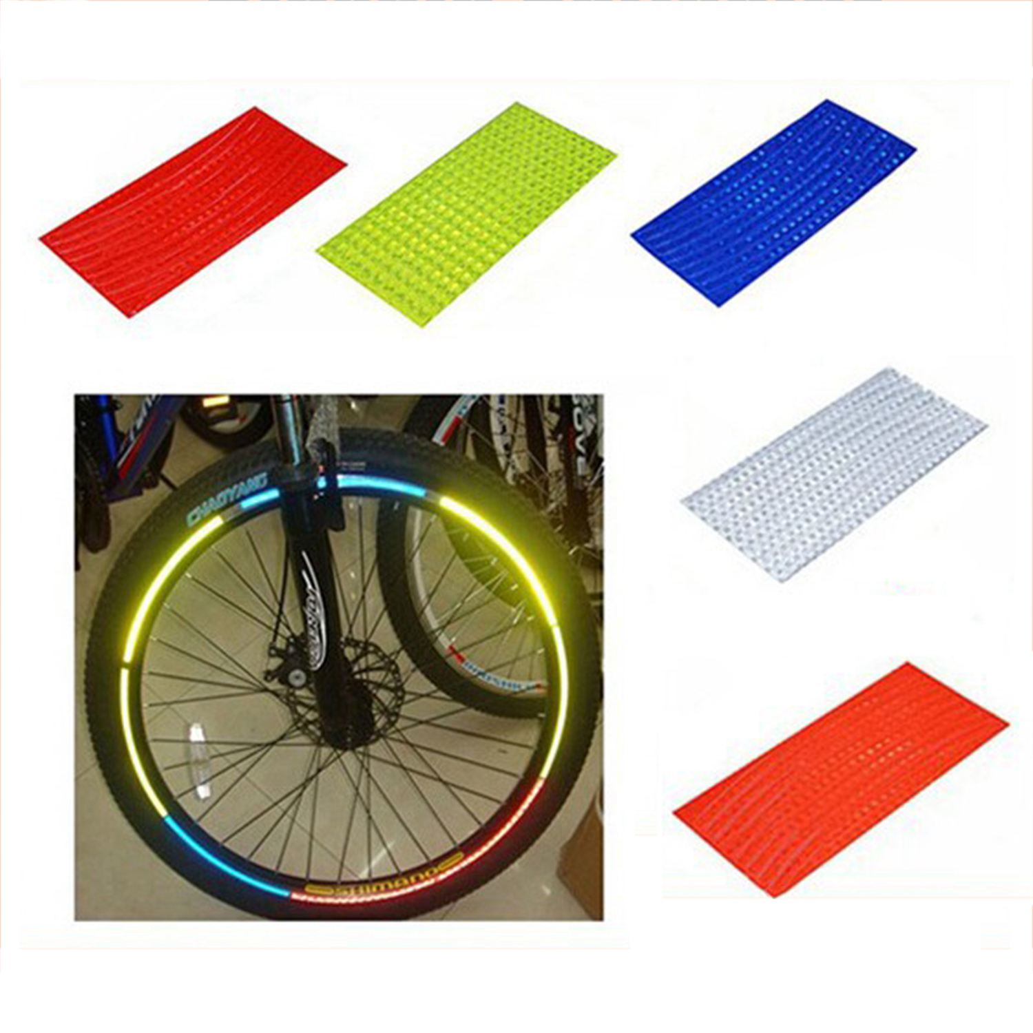 Bicycle Tire Reflective Sticker Fluorescent Reflector Cycling Wheel Rim Stickers