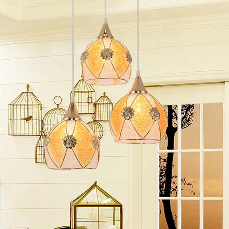 Simple-moderne-fer-lustre-simple-tete-E27-lampes-pendentif-en-cristal-lumiere-X1 miniature 6
