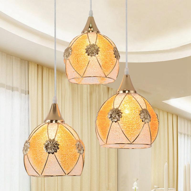 Simple-moderne-fer-lustre-simple-tete-E27-lampes-pendentif-en-cristal-lumiere-X1 miniature 7