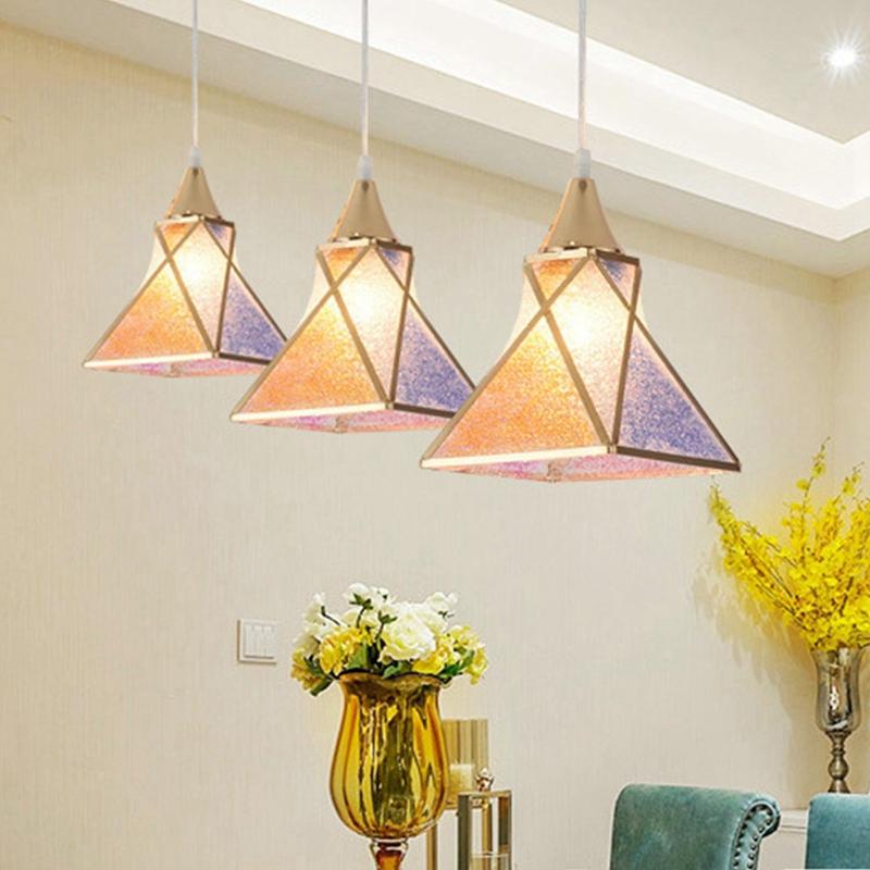 Simple-moderne-fer-lustre-simple-tete-E27-lampes-pendentif-en-cristal-lumiere-X1 miniature 16