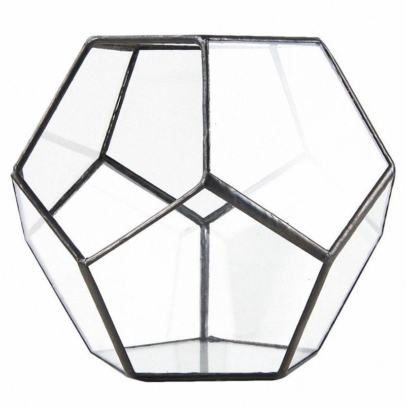 Schwarz Glas Pentagon Geometrische Terrarium Container Fensterbank Decor Bl T4N6