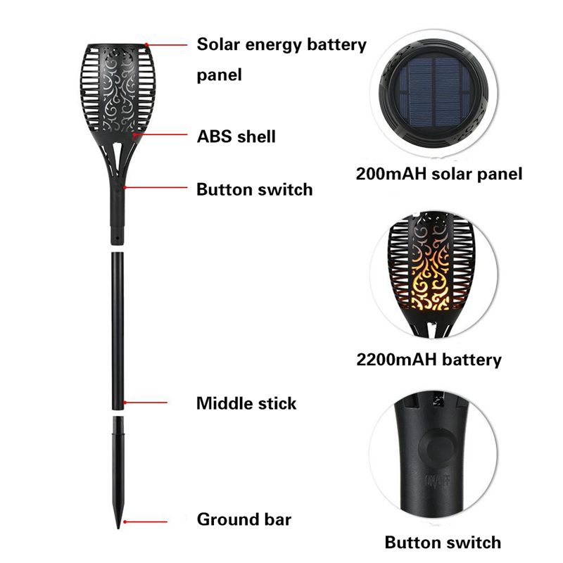 Outdoor-Upgraded-96-LED-IP65-Waterproof-Flame-Solar-Powered-Security-Light-L-2Q9 thumbnail 4
