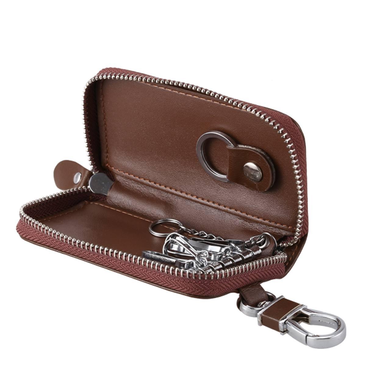 c7b3f0da60569 1X(Men Leather Zip Around 6 Hook Key Case Car Key Holder Wallet Y9F7 ...