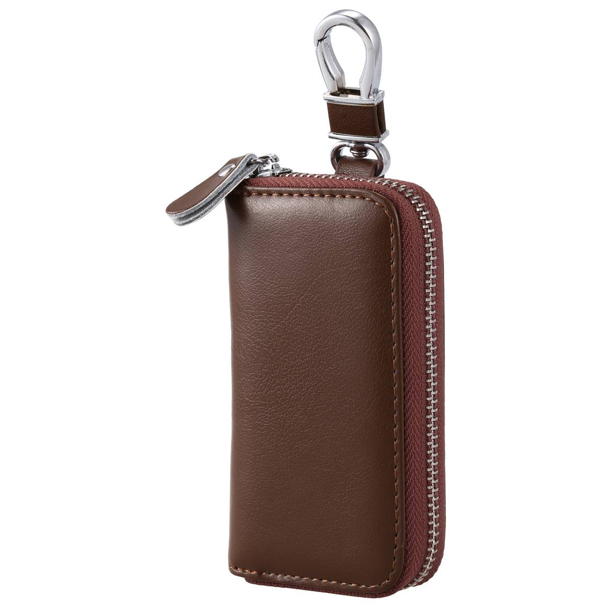 f24c659732b87 Details about Men Leather Zip Around 6 Hook Key Case Car Key Holder Wallet  ( brown) Q3S4