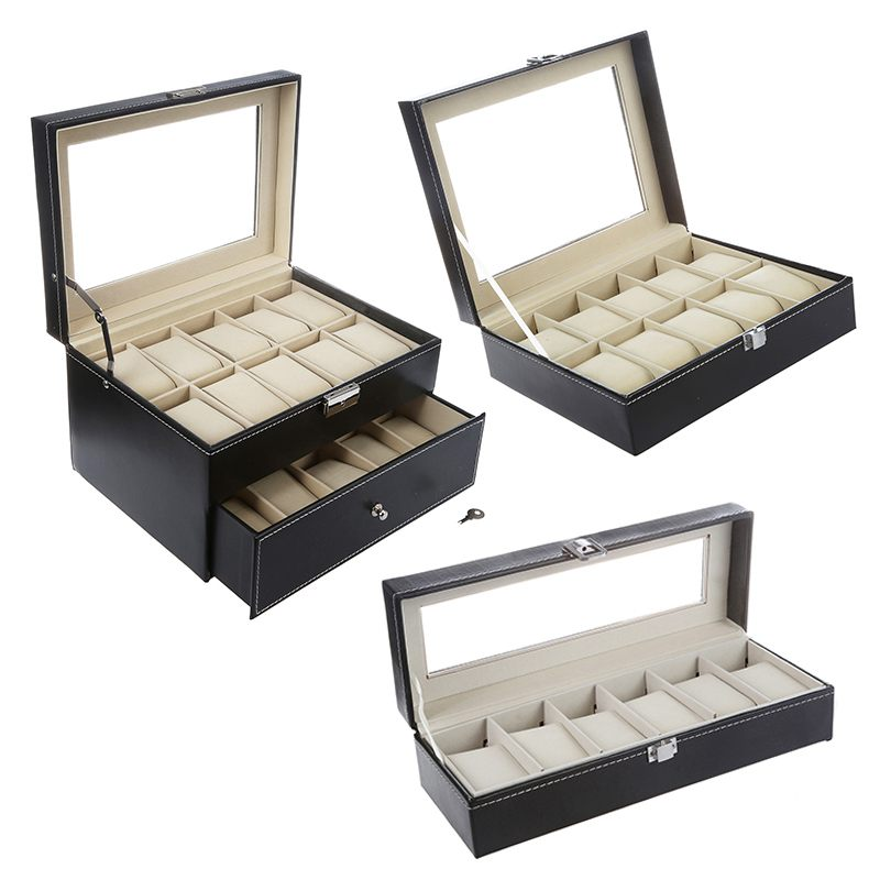 Details About 10 Grid Faux Leather Watch Storage Organiser Case Display Box Black P3r8